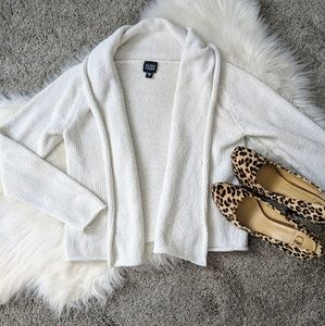 Eileen Fisher | white chunky knit cardigan sweater